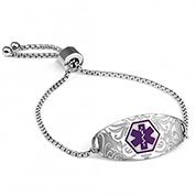 Sabrina Medical Alert Bracelet with Purple Symbol