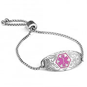 Pretty in Pink Floral Design Medical Bracelet