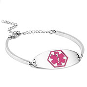 Prescilla Adjustable Medical ID Bracelet with Pink Symbol