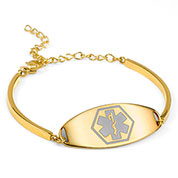 Emira Gold Adjustable Medical Alert Bracelet for Women