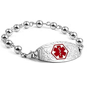 Silver Bead Medical ID Bracelet and Designer Red Tag