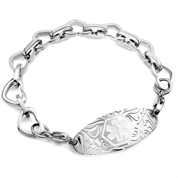 Silver Heart Link Bracelet with Medical Tag