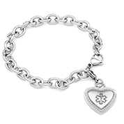 Silver Medical Bracelet with Heart Charm