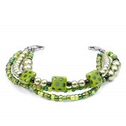 Spring Green Triple Beaded Medical Alert Bracelets 5 - 7 In (No Tag)