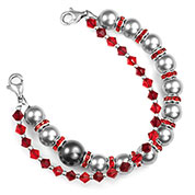 Silver and Red Womens Beaded Bracelet  6 In (No Tag)
