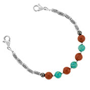Jasper and Riverstone Beaded Medical Alert Bracelet for ID Tag