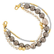 Golden Pearl Beaded Bracelet for Medical ID 6 inch