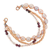 Rose Gold Pearl Beaded Bracelet for Medical ID 6 inch