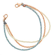 Rose, Ivory and Blue Bead Bracelet for ID Tag 6 inch