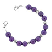 Purple and Silver Bead Bracelet 6 inches