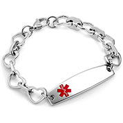 Stainless Steel Heart Link Medical Bracelet for Women