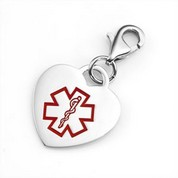 Stainless Steel Red Heart Medical Charm