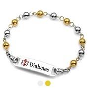 Steel and Gold Beaded Diabetic Bracelet