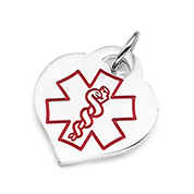 Sterling Silver Heart Charm with Red Medical Symbol