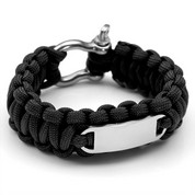Black Paracord Survival Screw Clasp Bracelet LG