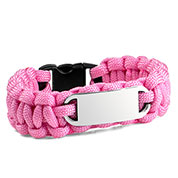 Womens Pink Paracord Survival ID Bracelet & Steel Tag MD