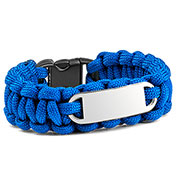 Blue Paracord Survival ID Bracelet & Steel Tag MD