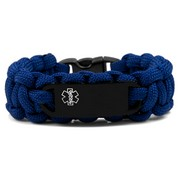 Medical ID Alert Blue Paracord Bracelet & Black Tag XS