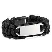 Kids Black Paracord Survival ID Bracelet & Steel Tag XS