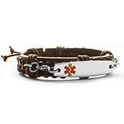 leather medical alert bracelet