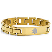 Stainless Gold Plated Mens Medical Bracelet 8.5 inch - HSKU:8035