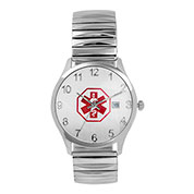 Mens White Expansion Medical ID Watch