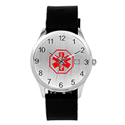 Silicone Black Strap Medical ID Watch