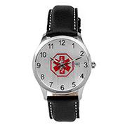 Black Leather Medical Alert Watch