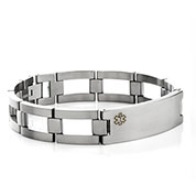 Medical Alert Brushed Titanium Mens Bracelet 9 Inch