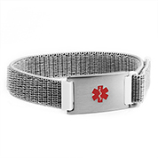 Grey Fabric Adjustable Medical Bracelet