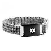 Grey Fabric Medical Bracelet with Black Tag Adjustable