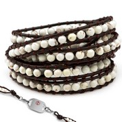 White Turquoise Leather Wrap Beaded Medical Alert Bracelets