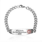 Wisconsin DNR Medical ID Stainless Bracelet 7.5 - 10 In