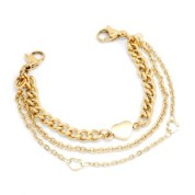 Yellow Gold Triple Strand Bracelet for Medical Tags 6 inch