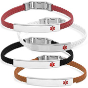 York Braided Leather Medical Bracelets