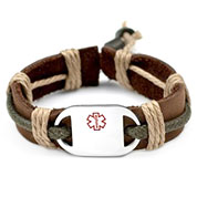Kids Earth Hemp Leather Medical ID Bracelets