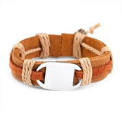 Kids Mesa Leather/Hemp Kids Bracelet Engravable Front