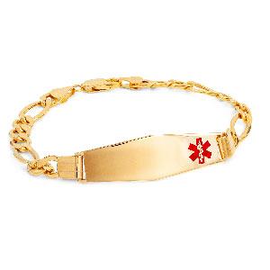 14k Gold Diamond Shaped Figaro Medical Bracelet 8 inch
