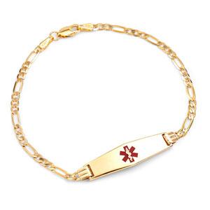 14k Gold Diamond Shaped Tag Medical Bracelet 7 inch