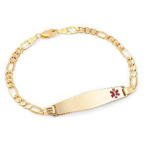 14k Gold Soft Diamond Shaped Figaro Medical Bracelet