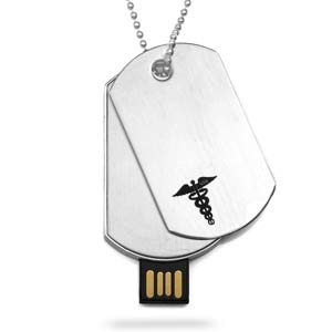 2GB - 8GB USB Medical Dog Tag Necklace