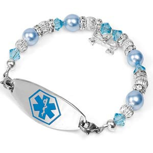 Icy Blue Beaded Medical Alert Bracelet for Women