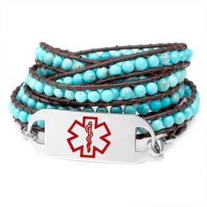 Wrapped Turquoise Beaded Medical Alert Bracelets for Women