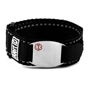 Black Sport Strap Medical ID Bracelets for Children & Adults