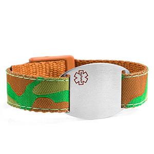 Camouflage Medical Sport Band Bracelet 4 - 8 Inch