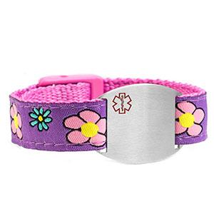 Girls Flower Garden Medical Sport Band Bracelet 4 - 8 Inch