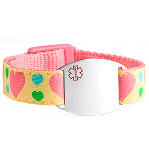 Girls Hearts Medical Sport Band Bracelet 4 - 8 Inch