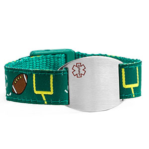 Football Pattern Sports Strap Medical ID Bracelet for Kids