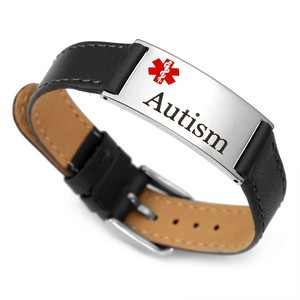 Black Leather Autism Bracelet with Adjustable Strap