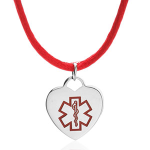 Red On Red Satin Heart Medical Necklace for Women